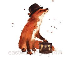 Watercolour FOX Print - Downtown Fox - 5x7 inches - portrait format - ready to frame  Charlie is a chocolate salesman and his briefcase choc full of