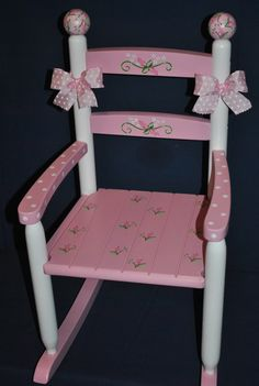 Childrens Custom Hand Painted Pink Floral Rosebud Girls Rocking Chair