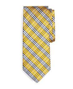 "Brooks Brothers BB#1 Plaid Tie Yellow $79.50 3.25"""