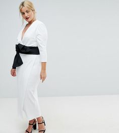 ASOS CURVE Deep Plunge Origami Bow Front Maxi Dress - White