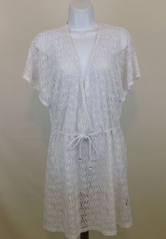 APT 9 Beach Cover Up Dress Size L White Knit Crochet Deep V Neck Short Sleeve  #Apt9 #CoverUp #Casual