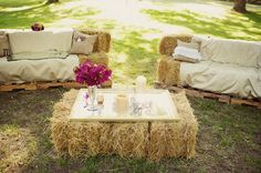 @Shannon Keister Im sure you already have your wedding all planned...but look how cool: Southern weddings - hay bale lounge area wedding-ideas