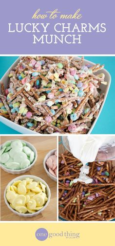 <Make Your Own Luck-y Charms Munch For St. Patrick& Day · Jillee We combine Lucky Charms marshmallows with pretzels and chocolate to make a sweet and salty snack that's perfect for St. Patrick's Day! Lucky Charms Marshmallows, Recipes With Marshmallows, Delicious Desserts, Yummy Food, Sweet Desserts, Yummy Yummy, Tasty, Lucky Charms Treats, Pretzel Desserts