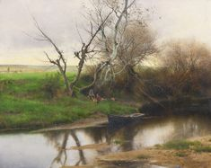 A Quiet Stretch of River by Emilio Sánchez Perrier, ca. Abstract Landscape, Landscape Paintings, Gustave Courbet, Salon Art, Spanish Artists, Traditional Landscape, European Paintings, Great Paintings, Winter Landscape