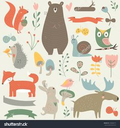 Forest animals in vector set. Cute bear, rabbit, elk, fox, hedgehog, snail, birds, squirrel, butterflies, owl, mushrooms, flowers and ribbons in cartoon style