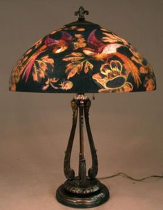 This fabulous reverse painted handel lamp with dome shaped shade is buying and selling antique lamps and lighting handel reverse painted and metal overlay lamps tiffany lamps and table lamps from duffner and kimberly and mozeypictures Choice Image