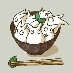 My Neighbor Totoro, bowl, chopsticks, cute; Studio Ghibli