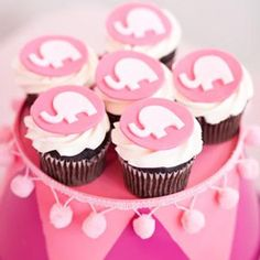 We found these cute elephant baby shower cupcakes for those expecting a baby girl. An elephant baby shower is such a fun and unique baby shower theme. Elephant Cupcakes, Elephant Party, Elephant Birthday, Pink Elephant, Elephant Shower, Animal Cupcakes, Elephant Theme, Elephant Design, Yummy Cupcakes