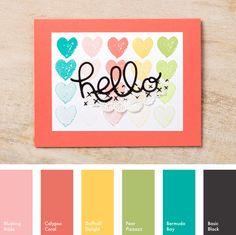 Blushing Bride, Calypso Coral, Daffodil Delight, Pear Pizzazz, Bermuda Bay & Basic Black #StampinUpColorCombos