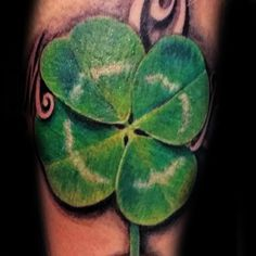Man With Four Leaf Clover Realistic Tattoo Esign