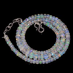 """57CRTS 4.2to6.5MM 18"""" ETHIOPIAN OPAL FACETED RONDELLE BEADS NECKLACE OBI1717 #OPALBEADSINDIA"""