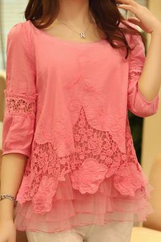 Stylish Scoop Neck 3/4 Sleeve Spliced Solid Color Blouse For Women