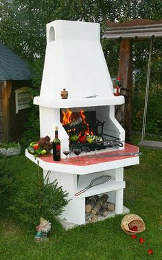 Amazing Outdoor Patio Barbecue Grill Ideas: Do you think that having a piece of BBQ stand in your house garden will bring a source of thrilling entertainment in the nightlife gatherings. Barbecue Design, Grill Design, Patio Design, Bbq Grill Set, Patio Grill, Outdoor Oven, Outdoor Fire, Bbq Stand, Brick Bbq