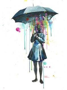 'Rainy' Art Print by Lora Zombie + Available at EyesOnWalls.com   http://www.eyesonwalls.com/collections/lora-zombie?utm_source=pinterest&utm_medium=ads&utm_campaign=Lora%20Zombie%20Spring&utm_content=Rainy