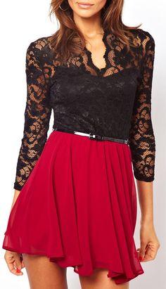 Belted lace + chiffon dress