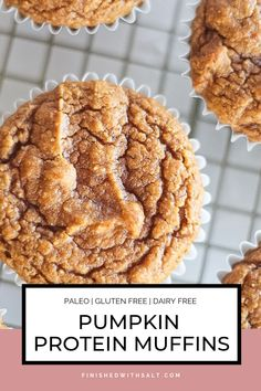 Protein Muffins - Finished with Salt Paleo Pumpkin Protein Muffins are the perfect baked good to celebrate fall! They are healthy full of protein and lightly sweetened with maple syrup. Paleo Dessert, Bon Dessert, Healthy Dessert Recipes, Real Food Recipes, Pumpkin Dessert, Breakfast Recipes, Clean Breakfast, Healthy Bars, Real Foods