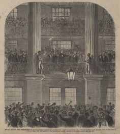 """""""The Hon. Jefferson Davis, President-Elect of the New Southern Confederacy, Addressing the Citizens of Montgomery, Ala., from the Balcony of the Exchange Hotel, on the Night of February 16th, 1861, and Previous to His Inauguration.""""  From Frank Leslie's Illustrated Newspaper. 1861 March 16 Jefferson Davis, America Civil War, Down South, Present Day, Newspaper, Soldiers, American History, Alabama, Balcony"""