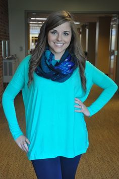 PIKO-Keeps Getting Better Top-Mint Scarves & Fall Piko