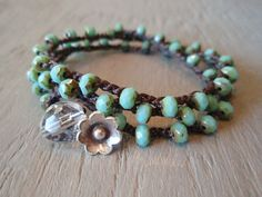 Turquoise wrap bracelet, necklace, 2x anklet - Boho Country Girl - rustic Thai Silver flower, bohemian crochet jewelry, beachy surfer