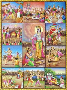 Scenes from Mahabharata - The great Indian Epic - Hindu Posters (Reprint on Paper - Unframed) Durga Images, Lord Krishna Images, Bal Krishna, Krishna Art, Radhe Krishna, Hanuman Murti, Lord Rama Images, Lord Krishna Hd Wallpaper, Bhagavata Purana