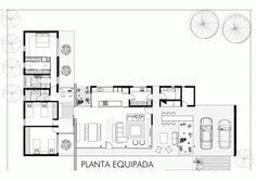 Gallery of Suburban Dwelling / Roberto Benito - 18 Modern House Plans, Small House Plans, House Floor Plans, Detail Architecture, Architecture Plan, L Shaped House, Villa Plan, Suburban House, House Layouts