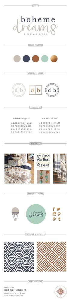 Brand Launch :: Brand Style Board :: Boho Home Decor Branding :: Boheme Dreams Brand Design by Wild Side Design Co. :: #branding www.wildsidedesign.co