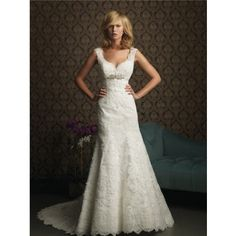 A Line V Neck Empire Waist Lace Wedding Dress With Straps Crystal Belt #LOVETHIS