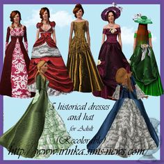 Irink@a: 5 historical dress and hat for adult