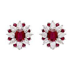 """Ruby and Diamond """"Sunburst"""" Cluster Earrings – Ruby Jewelry Platinum Earrings, Ruby Earrings, Clip On Earrings, Diamond Earrings, Ruby Jewelry, Diamond Jewelry, Fine Jewelry, Faberge Eier, Antique Earrings"""