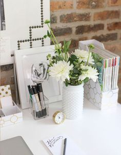 Spruce up your desk with fresh flowers.