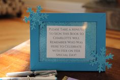 Frozen birthday party, cute to remind guests to sign the diy autograph book. Charlotte's 6th Birthday | CatchMyParty.com