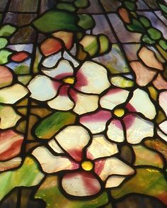 The Neustadt Collection of Tiffany Glass Stained Glass Lamps, Leaded Glass, Stained Glass Windows, Summer Blooming Flowers, Tiffany Lamp Shade, Louis Comfort Tiffany, Tiffany Glass, Hollyhock, Mosaic Projects