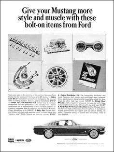 1965 Ford Mustang Fastback car bolt on performance parts vintage print ad Ford Mustang 1965, Ford Mustang Fastback, Mustang Cobra, Car Ford, Ford Mustangs, Ford Shelby, Classic Mustang, Ford Classic Cars, Vintage Advertisements
