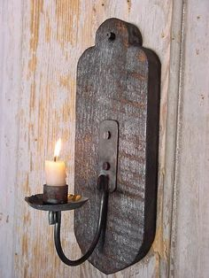 Wall Candle Sconce Lighting Primitive Lighting by baconsquarefarm                                                                                                                                                     Mais                                                                                                                                                     Mais