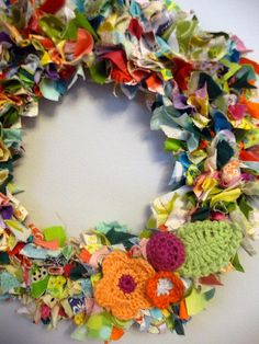 Fabric scraps & crochet flowers