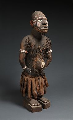 Power Figure (Nkisi N'Kondi: Mangaaka) Date: 19th century, inventoried 1904 Geography: Democratic Republic of the Congo, Chiloango River region; Republic of the Congo; Angola Culture: Kongo peoples; Yombe group Medium: Wood, iron, resin, cowrie shell, ceramic, plant fiber, textile, gourd, pigment Dimensions: H. 45 1/4 in. (115 cm), W. 17 ¾ in. (45 cm), D. 14 3/4 in. (37.5 cm)