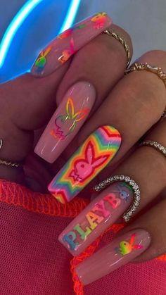 Acrylic Nails Coffin Pink, Long Square Acrylic Nails, Summer Acrylic Nails, Coffin Nails, Summer Nails, Edgy Nails, Stylish Nails, Swag Nails, Rave Nails