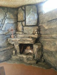 Excellent options for DIY Fireplace Designs - If you are constructed a new house and you are looking for some new and existing design for your fireplace, then why don`t you try something on your o. Rock Fireplaces, Rustic Fireplaces, Home Fireplace, Modern Fireplace, Fireplace Design, Fireplace Mantels, Concrete Sculpture, Concrete Art, Cabin Homes