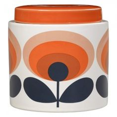 Oval Flower Ceramic Small Storage Jar in Orange Small ceramic storage jar featuring Orla Kiely's Oval Flower print in orange with a matching solid colour ceramic lid. Made from stonewar Food Prep Storage, Small Storage, Storage Canisters, Jar Storage, Orla Kiely, Orange Kitchen, Modern Vintage Fashion, Vintage Colors, Flower Prints