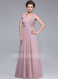 Mother of the Bride Dress - A-Line/Princess V-neck Floor-Length Chiffon With Ruffle Lace Beading, available in plus size