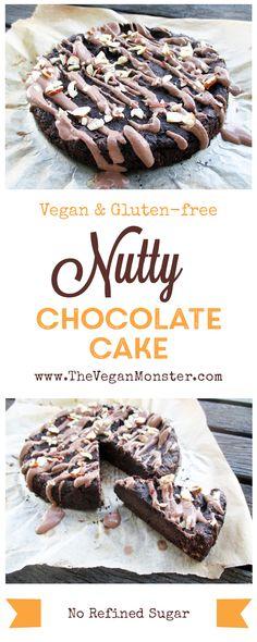 Nutty Chocolate Cake. Vegan, gluten-free, no refined sugar.