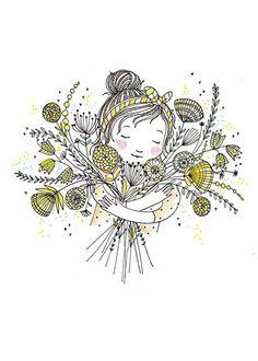 Marieke ten Berge ansichtkaart bloemenmeisje