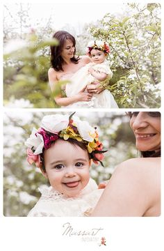 Styled spring family portrait session outside with white blossoming trees; mother and daughter dressed up in a gown, a tutu and flower crowns; mommy and me | Photos by Massart Photography of Warwick, RI; www.massartphotography.com; info@massartphotography.com