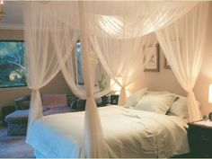 Amazon.com - White Sheer Bed Canopy 4 Corner Four Poster Bed Mosquito Net Romantic Bedroom Decor -