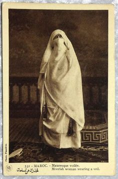 Morocco Moorish Woman Wearing A Veil Postcard, African Arabic Muslim Islamic c1920s by OakwoodView, $8.00
