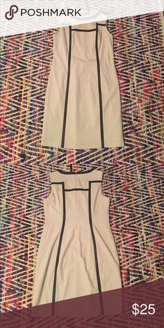 """Andrew Marc cream/khaki and black pleather dress Excellent used condition - worn only once to a networking event. I'm 5'9"""" and it hits me a few inches above the knee Andrew Marc Dresses Midi"""