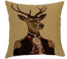 Complete your seating or bed with a touch of aristocratic whimsy. Our Deer in Jackets Cushion Collection translates effortlessly into the country estate, ski lodge decor or playful ecelectic apartment aesthetic. Think sculptural stag feature on the wall to co-ordinate.