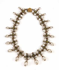 Vintage c1950s Miriam Haskell necklace with square shaped baroque pearls & green rose montees.
