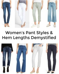 Women's Pant Styles and Hem Lengths Demystified: I'm breaking down pant styles and hem lengths and what shoes to wear with the various styles of pants and jeans that are trending these days.