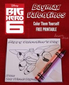 Big Hero 6 Baymax Color them yourself printable valentines